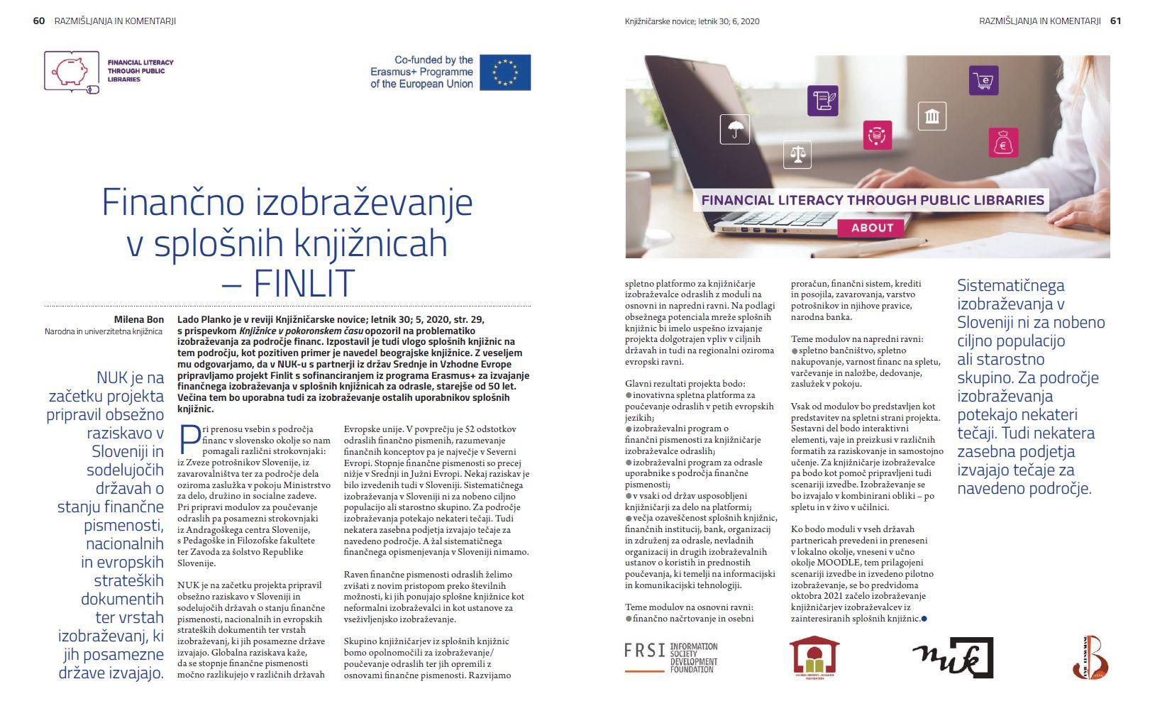Na sliki je pdf članka o projektu Finlit, objavljen v Knjižničarskih novicah, letnik 30, 6, 2020.